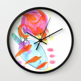 Pomegranate with Blue Carrot Wall Clock