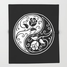 Black and White Yin Yang Roses Throw Blanket