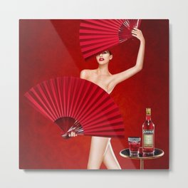 Classic Red Campari Girl with Fans Alcoholic Aperitif Vintage Advertising Poster Metal Print