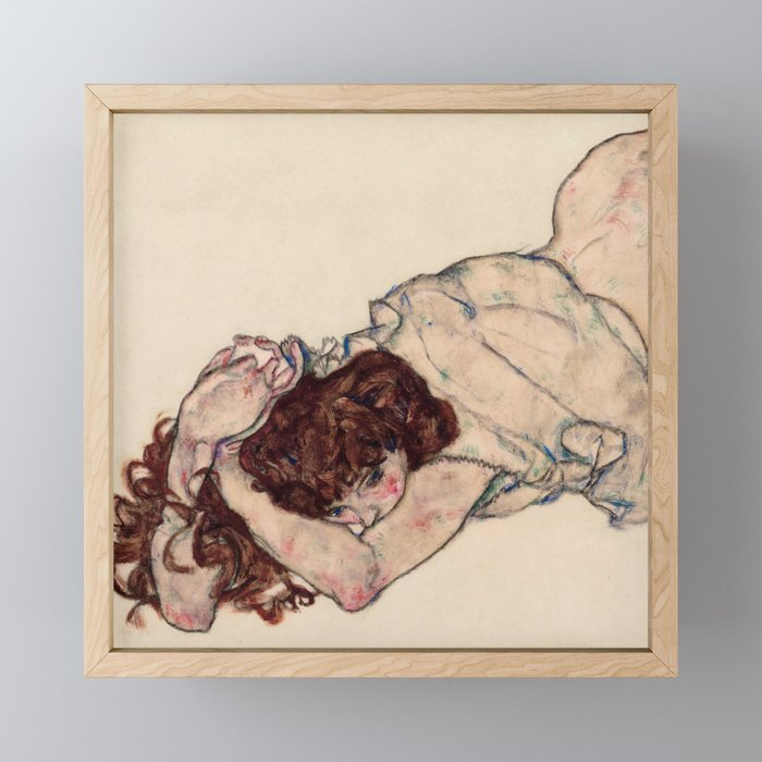 "Egon Schiele ""Kneeling Girl, Resting on Both Elbows"" Framed Mini Art Print"