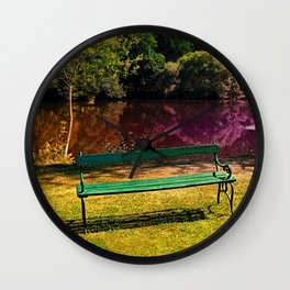 Bench at the pond Wall Clock