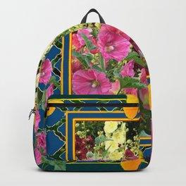 PINK HOLLYHOCKS & YELLOW  BUTTERFLIES TEAL Backpack