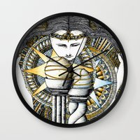valar morghulis Wall Clocks featuring Lady of light by Anca Chelaru