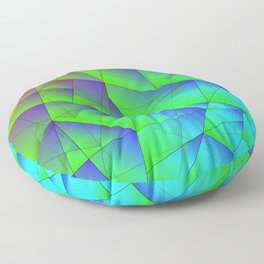 Bright fragments of crystals on irregularly shaped green and purple triangles. Floor Pillow