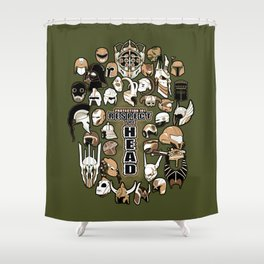 Helmets of fandom - respect the head! Shower Curtain