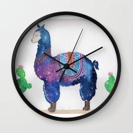 """""""Lady Llama"""" watercolor galaxy animal & cacti illustration Wall Clock"""