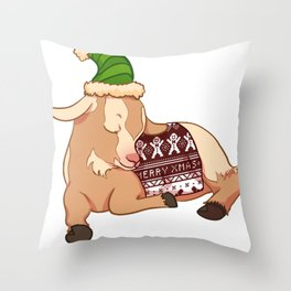 Sleeping Christmas Sweater Goat Throw Pillow
