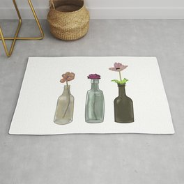 Flowers in Glass Bottles . Pastel Colors Rug