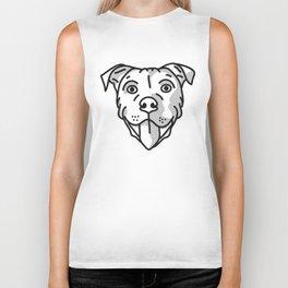 Pitbull Dog Print - black and white halftone Biker Tank