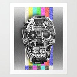 retro tech skull 3 Art Print
