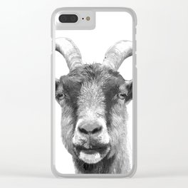 Black and White Goat Clear iPhone Case
