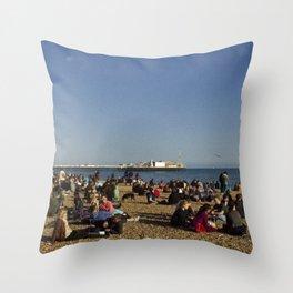 Busy Brighton Beach Throw Pillow