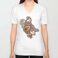 large V-neck T-shirts featuring Large Mehndi by RevvyIllustrations