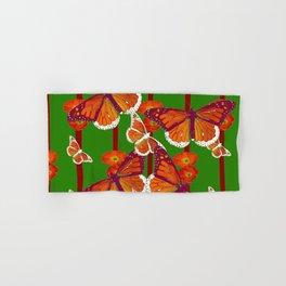GREEN  DECORATED MONARCHS & POPPY FLOWERS ART Hand & Bath Towel