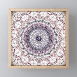 Bohemian White Detailed Mandala Design Framed Mini Art Print