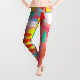 Those Crucial Three Words colorful abstract expressionism painting modern contemporary art whimsical Leggings