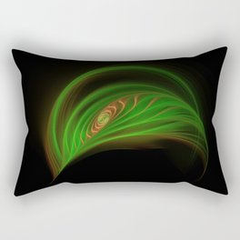 Gold Green Peacock Feather Rectangular Pillow