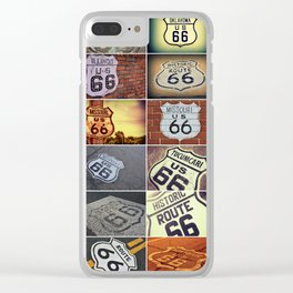 Historic U.S. old Route 66 signs. Clear iPhone Case