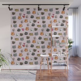 cats pattern pink Wall Mural