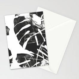 Monstera Leaf Black Stationery Cards
