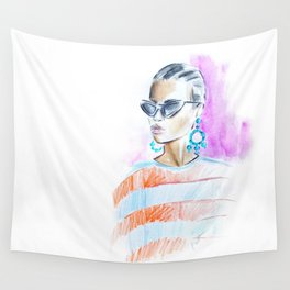 Watercolor girl Wall Tapestry
