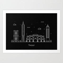 Taipei City Minimal Nightscape / Skyline Drawing Art Print