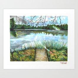 Moon Lake Art Print