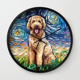Goldendoodle Night Wall Clock