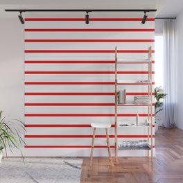 Horizontal Lines (Red/White) Wall Mural