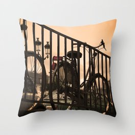 Bike in Paris Throw Pillow