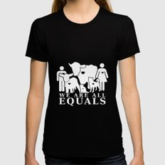 Earthlings Inverse colors Womens Fitted Tee Black LARGE