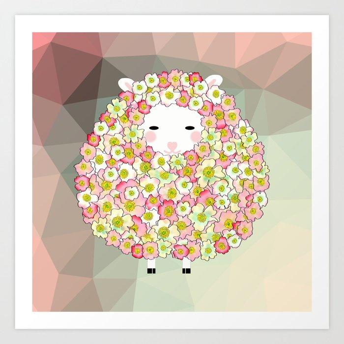 Pastel Tone Flowery Sheep Design Art Print