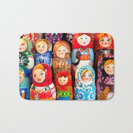 Culture. Group of matrioska, or babushka, symbol of maternity from Russia. Bath Mat