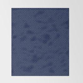 Navy Geometric Greek Key Pattern Throw Blanket