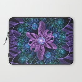 Bejeweled Butterfly Lily of Ultra-Violet Turquoise Laptop Sleeve