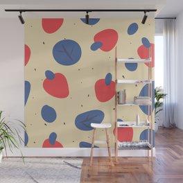 Blue Strawberries Pattern Wall Mural