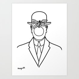 The Son Of Man 1946 Sketch by Rene Magritte Inspired Design, Artwork for Tshirts, Prints, Posters, B Art Print