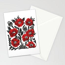 Poppies - linocut art,, linocut, woodcut, woodblock, floral art, poppies, poppy art, andrea lauren Stationery Cards