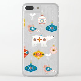 christmas vintage decorations with bear and bird Clear iPhone Case