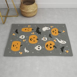 Pumpkin Party in Gray Rug