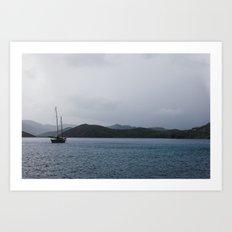 Moored Sailboat  Art Print