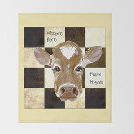 Farmhouse Cow, Welcome Home Farm Fresh Throw Blanket