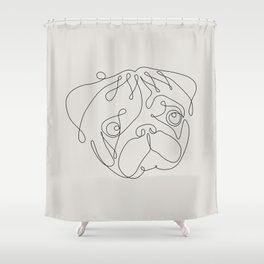 One Line Pug Shower Curtain