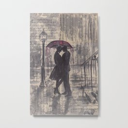 Silouette lovers on rainy street Metal Print