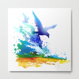 Birds flying. Sea, ocean waves. Gulls, colorful watercolor realistic panting. Blue water.. Metal Print