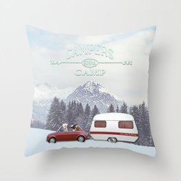NEVER STOP EXPLORING - CAMPERS GONNA CAMP Throw Pillow