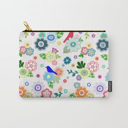 Whimsical Spring Flowers in Pink Carry-All Pouch