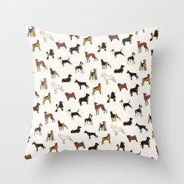 Dachshund Rottweiler Pug & Poodle Dog Pattern Throw Pillow