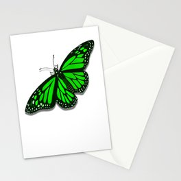 Green Monarch Butterfly Stationery Cards