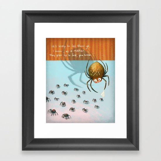 Scared spider Framed Art Print